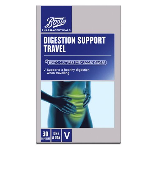 Boots Pharmaceuticals DIGESTION SUPPORT TRAVEL with added Ginger 30 Capsules