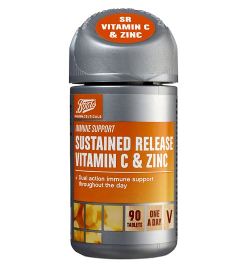Boots SUSTAINED RELEASE VITAMIN C & ZINC (90 One-A-Day Tablets)