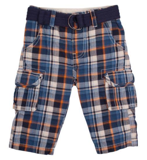 Mini Club Boys Belted Check 3/4 Length Shorts