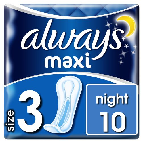 Always Maxi Night (Size 3) Sanitary Towels 10 Pads