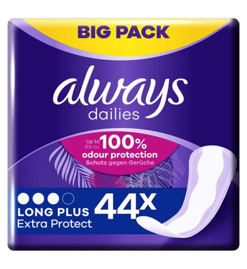 Always Dailies Extra Protect Panty Liners Long Plus x 44