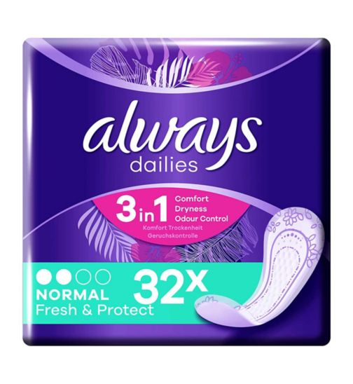 Always Dailies Fresh & Protect Panty Liners Normal x32