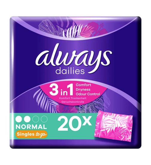 Always Dailies Singles Panty Liners Normal x 20
