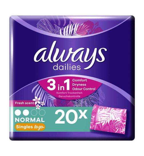 Always Dailies Singles Panty Liners Fresh x 20