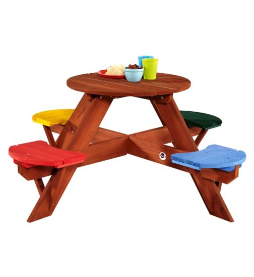 Plum® Children's Garden Picnic Table with coloured seats