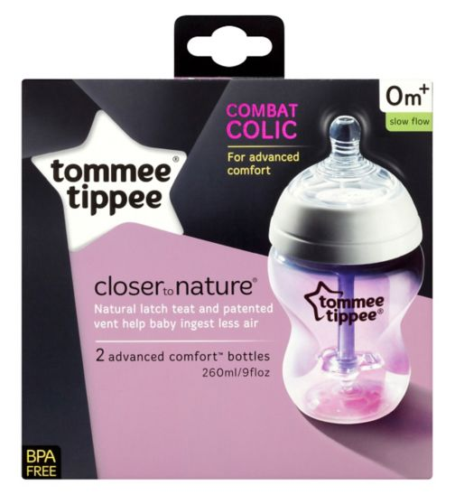 Tommee Tippee Closer to Nature Advanced Comfort Baby Feeding Bottles - 2 x 260ml