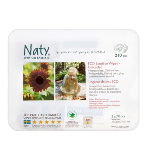 Naty for Nature Babycare Wipes - 3 x 70 Pack Wipes
