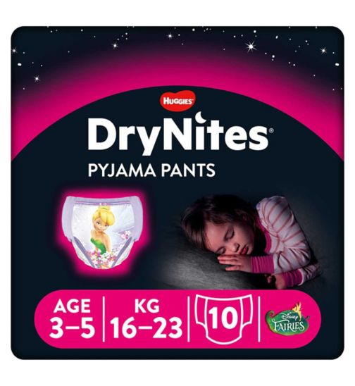 Huggies DryNites Pyjama Bed Wetting Pants Girls 3-5 Years - 10 Pants