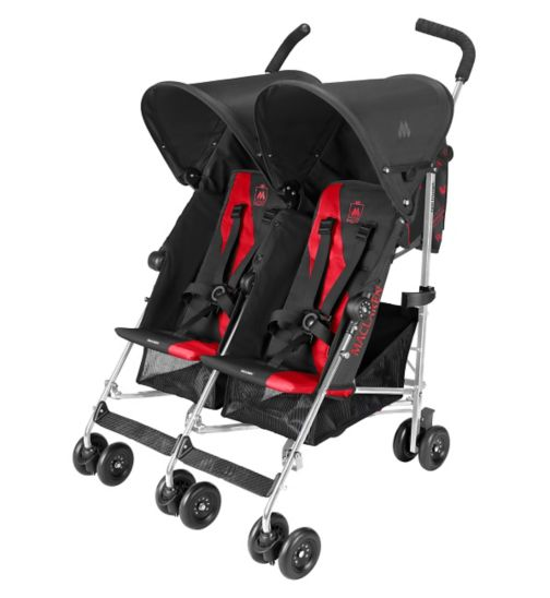 Maclaren Twin Triumph Pushchair - Charcoal & Scarlet
