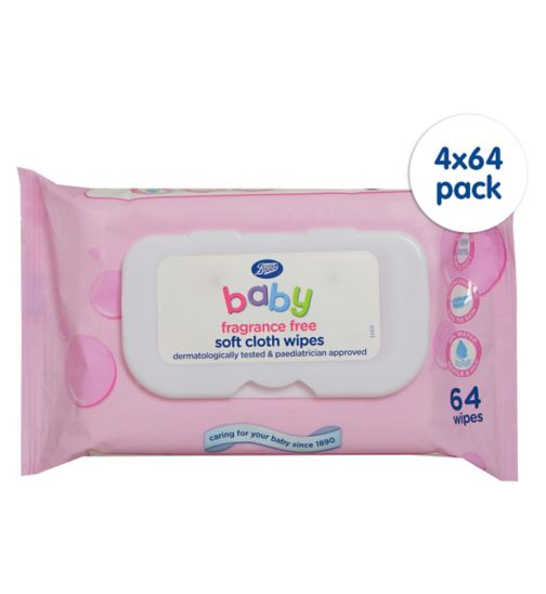 Boots Baby Soft Cloth Wipes Fragrance Free - 4 x 64 Pack