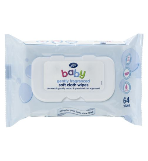 Boots Baby Soft Cloth Wipes Gently Fragranced - 1 x 64Pack