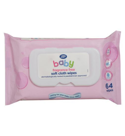 Boots Baby Soft Cloth Wipes Fragrance Free - 1 x 64 Pack