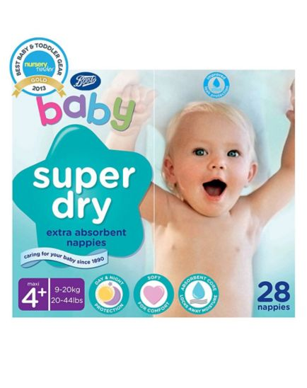 Boots Baby Super Dry Nappies Size 4+ Maxi Plus Carry Pack - 1 x 28 Nappies