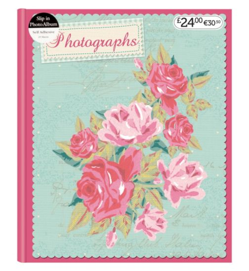 Mint & Pink Flowers Self Adhesive Photo Album 4x6 - 25 sheets
