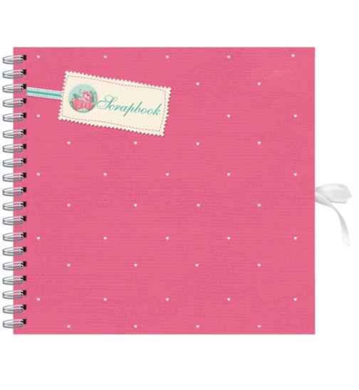 Pink & Cream Hearts Scrapbook Album- 20 Sheets