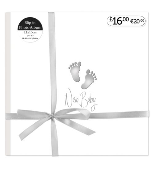 Baby Feet Silver Slip In Photo Album  6x4 - 140 Photos