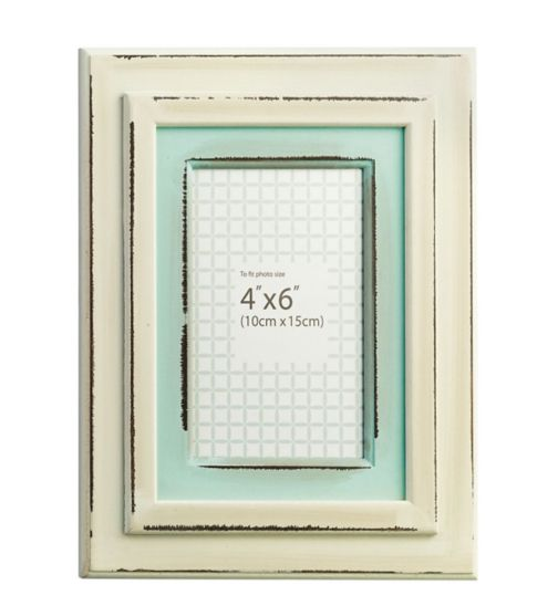 Distressed Cream and Duck Egg Photo Frame - 6 x 4