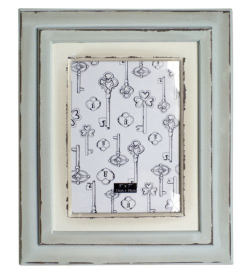 Distressed Cream and Duck Egg Photo Frame - 7 x 5