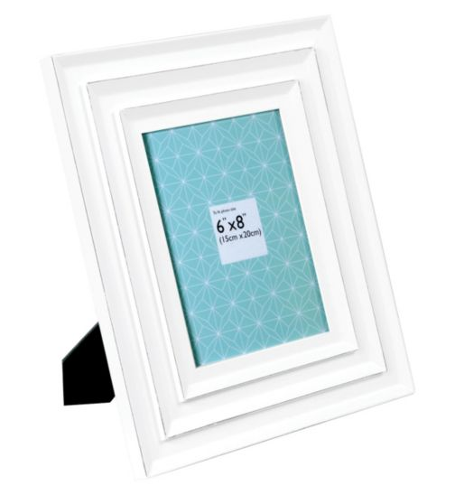 Double Bevelled White Photo Frame - 6 x 8