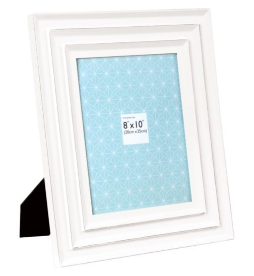 Double Bevelled White Photo Frame - 8 x 10