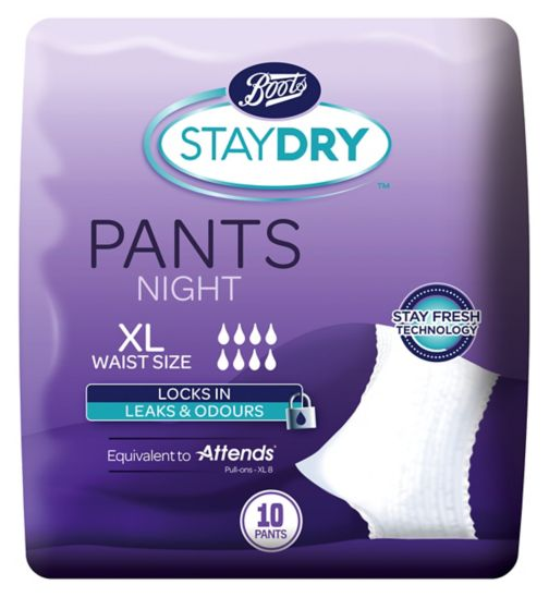 Boots Pharmaceuticals Staydry Night Pants Extra Large - 10 Pack