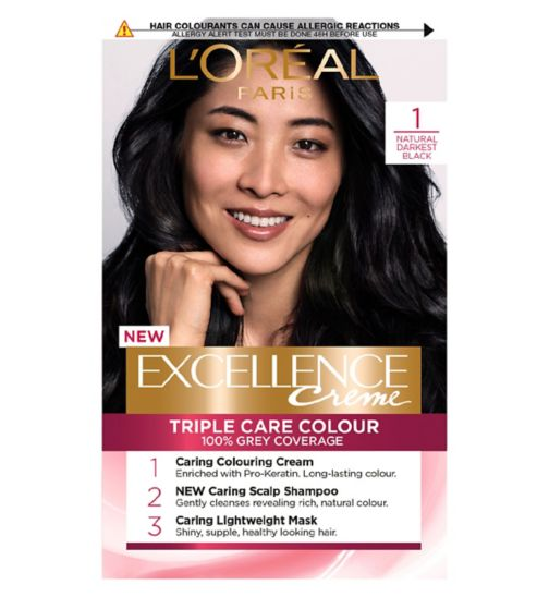 L'Oreal Paris Excellence Crème Permanent Hair Dye 1 Natural Darkest Black
