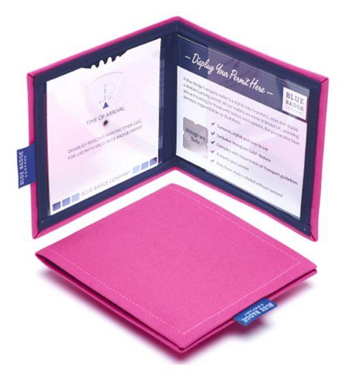 Blue Badge Display Wallet with Free Timer Clock - Pink Panama
