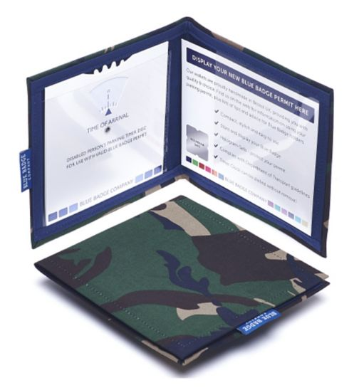 Blue Badge Display Wallet with Free Timer Clock - Army Camo