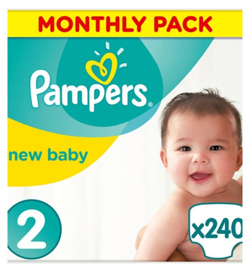 Pampers Premium Protection New Baby Size 2 Monthly Saving Pack 240 nappies