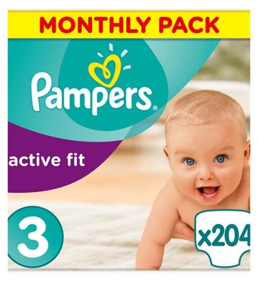 Pampers Active Fit Size 3, 204 Nappies, 5-9kg, With Absorbing Channels
