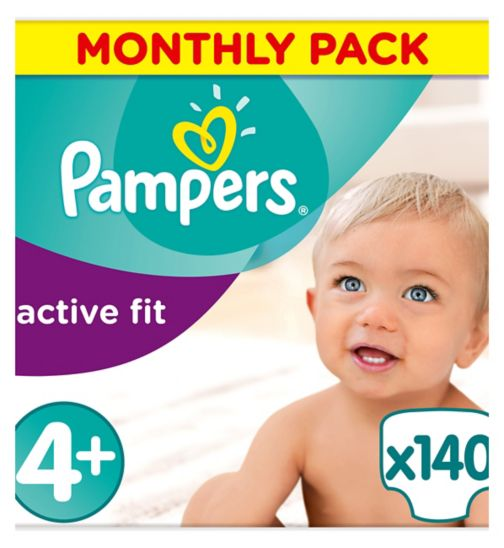 Pampers Active Fit Size 4+,140 Nappies,9kg-18kg,With Absorbing Channels