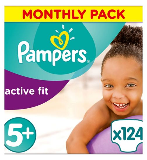 Pampers Active Fit Size 5+,124 Nappies,13kg-25kg,With Absorbing Channels