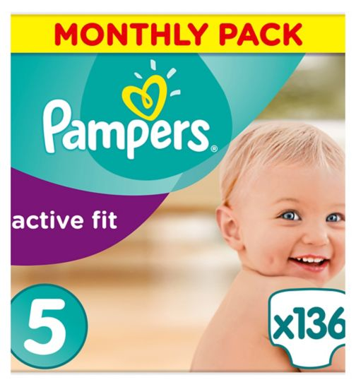 Pampers Active Fit Size 5,136 Nappies,11kg-23kg,With Absorbing Channels