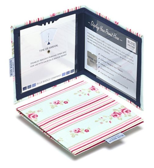 Blue Badge Display Wallet with Free Timer Clock - Cathy Stripe