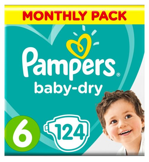 Pampers Baby-Dry Size 6,124 Nappies,15+Kg,With 3 Absorbing Channels