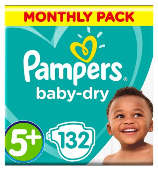 Pampers Baby-Dry Size 5+, 132 Nappies, 13-25kg, With 3 Absorbing Channels
