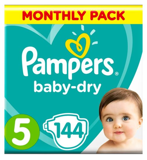 Pampers Baby-Dry Size 5, 144 Nappies, 11-23kg, With 3 Absorbing Channels