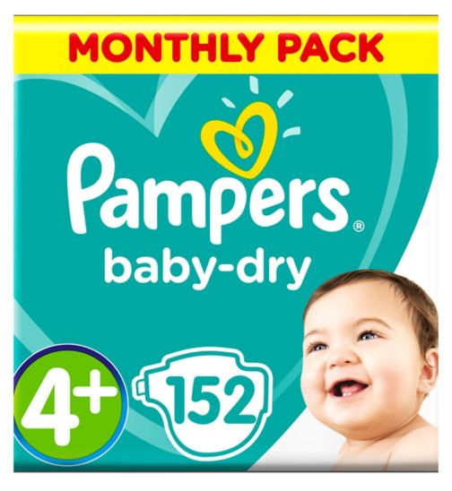 Pampers Baby-Dry Size 4+, 152 Nappies, 9-18kg, With 3 Absorbing Channels