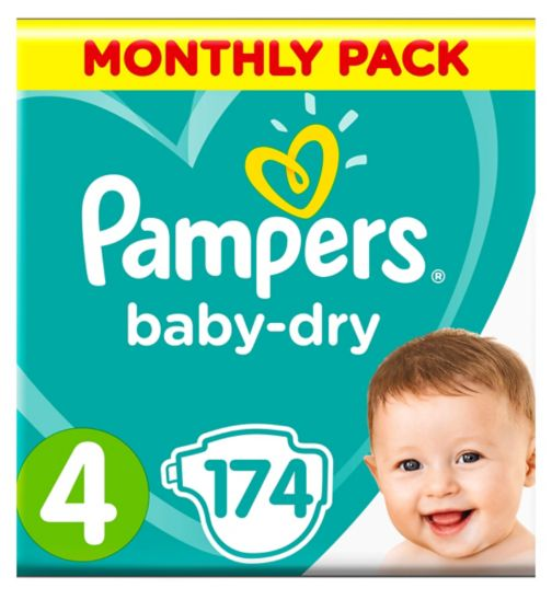 Pampers Baby-Dry Nappies Size 4 Monthly Pack 174 Nappies 9-14kg