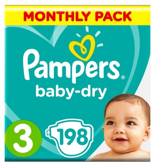 Pampers Baby-Dry Size 3, 198 Nappies, 5kg-9kg, With 3 Absorbing Channels
