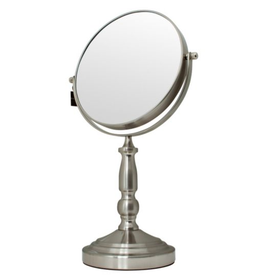 Danielle Creations Pedestal Mirror in Brushed Nickel Finish