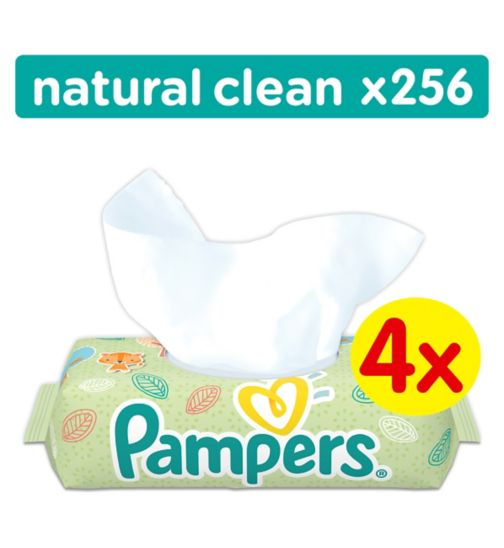 Pampers Natural Clean Baby Wipes 4 Packs = 256 Wipes