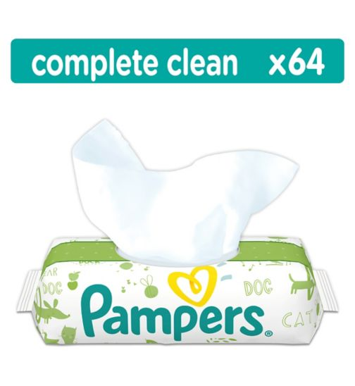 Pampers Complete Clean Baby Wipes Unscented Single Pack 64 Wipes