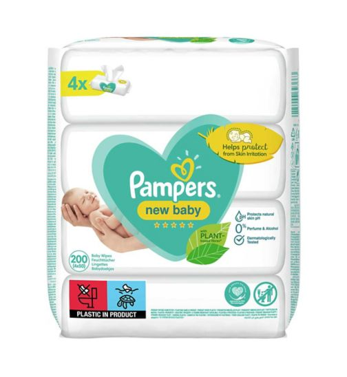 Pampers New Baby Sensitive Baby Wipes 4 Packs = 200 Wipes
