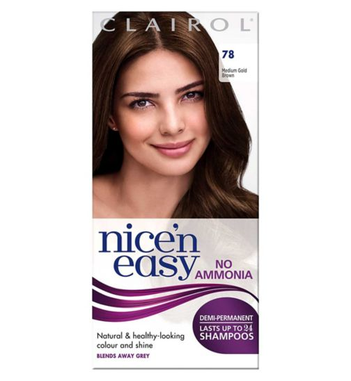 Nice'n Easy No-Ammonia Shade 78 Medium Golden Brown Up To 24 Shampoos