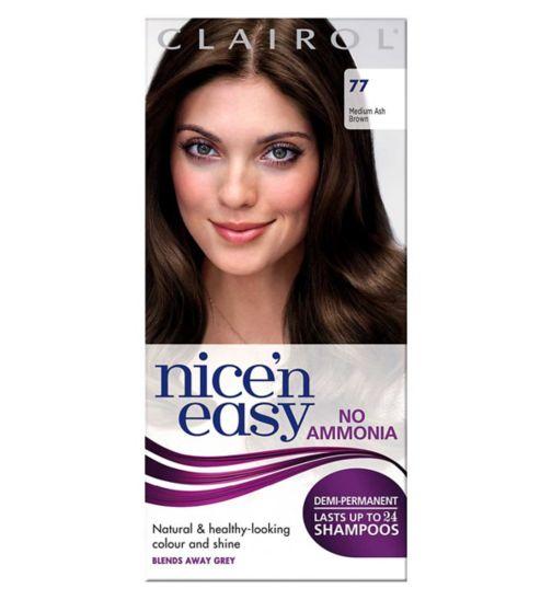 Clairol Nice'n Easy No-Ammonia Shade 77 Medium Ash Brown Hair Dye