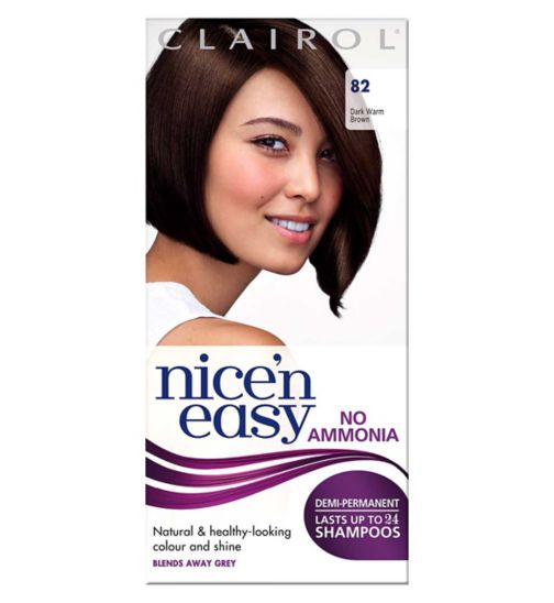 Clairol  Nice'n easy No Ammonia Non Permanent Hair Dye 82 Dark Warm Brown