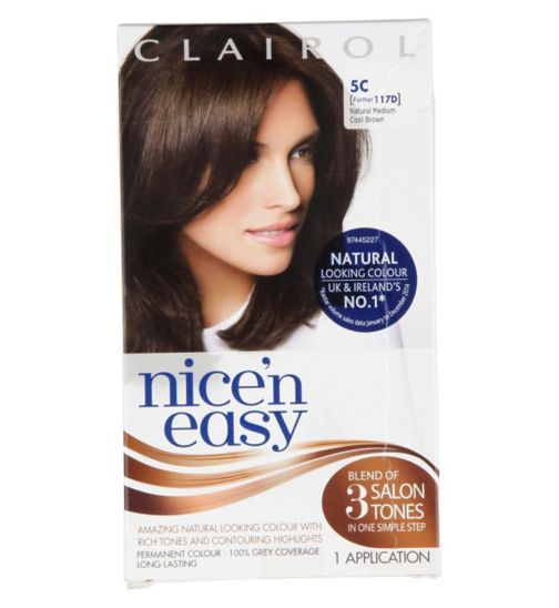Nice'n Easy Permanent colour #5C Natural Medium Cool Brown (Former shade #117D)
