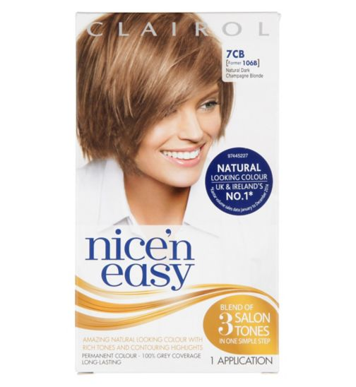 Nice'n Easy Permanent colour #7CB Natural Dark Champagne Blonde (Former shade #106B )