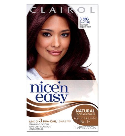 Nice'n Easy Permanent Hair Colour #3.5BG Natural Dark Burgundy Brown (Former #113A)